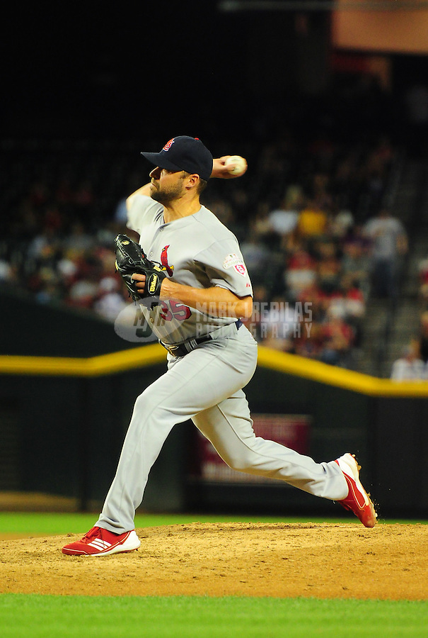May 8, 2012; Phoenix, AZ, USA; St. Louis Cardinals pitcher Jake Westbrook throws in the fifth inning against the Arizona Diamondbacks at Chase Field. Mandatory Credit: Mark J. Rebilas-