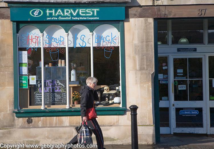 Harvest wholefood co-operative shop, Walcot Street, Bath, Somerset, England