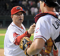 Sept. 17, 2009: Manager Kevin Boles congratulates Ryan Lavarnway after beating Lakewood 3-2 in Game 3 of the South Atlantic League Championship Series between the Greenville Drive and the Lakewood BlueClaws Sept. 17, 2009, at Fluor Field at the West End in Greenville, S.C.  Photo by: Tom Priddy/Four Seam Images
