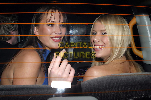 LUCY CLARKSON & JO LAWDEN.Loaded 2004 Calendar - launch party.car, cab, taxi .www.capitalpictures.com.sales@capitalpictures.com.© Capital Pictures.