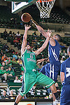 Jackson State Tigers forward Sydney Coleman (20) blocks a shot from North Texas Mean Green guard Chris Jones (5) during the game between the Jackson State Tigers and the North Texas Mean Green at the Super Pit arena in Denton, Texas. UNT defeats Jackson State 83 to 65...