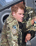 "PRINCE HARRY.on arrival at Camp Bastion, Helmand Province to begin a tour of duty with his Apache Squadron supporting International Security Assistance Force (ISAF) and Afghan National Security Force (ANSF) operations..Captain Wales as he is known will be working as part of the Joint Aviation Group (JAG) which provides helicopter support to ISAF and ANSF operating throughout Regional Command South West, based out of Camp Bastion..His Squadron will provide surveillance, deterrence and when required close combat attack capabilities as well as escort duties for other aircraft..Captain Wales is a qualified Apache Pilot and has deployed along with his Squadron as part of a scheduled deployment to provide support to our forces operating in Helmand_07/09/2012.Mandatory Credit Photo: ©Morrison MOD/NEWSPIX INTERNATIONAL..**ALL FEES PAYABLE TO: ""NEWSPIX INTERNATIONAL""**..IMMEDIATE CONFIRMATION OF USAGE REQUIRED:.Newspix International, 31 Chinnery Hill, Bishop's Stortford, ENGLAND CM23 3PS.Tel:+441279 324672  ; Fax: +441279656877.Mobile:  07775681153.e-mail: info@newspixinternational.co.uk"