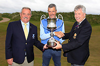 Adrian Morrow (Portmarnock) getting presented with the trophy by John White (Chairman GUI Ulster Branch) and Liam Breen (Captain Rosapenna Golf Resort) after winning the Ulster Seniors Open Championship at Rosapenna Golf Resort in Downings, Donegal, Ireland.<br /> <br /> Picture: Thos Caffrey / Golffile<br /> <br /> All photo usage must carry mandatory copyright credit (&copy; Golffile | Thos Caffrey)