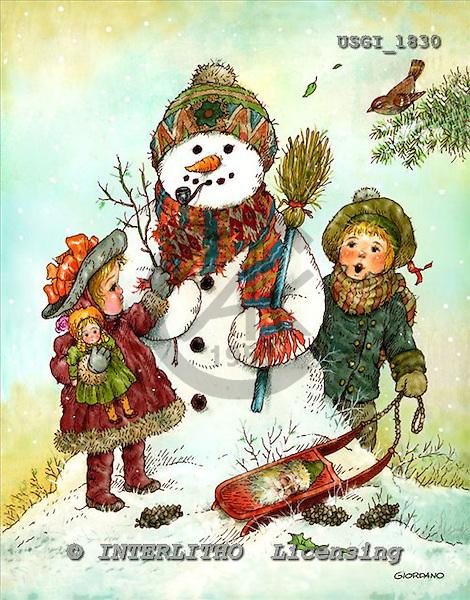 GIORDANO, CHRISTMAS SANTA, SNOWMAN, WEIHNACHTSMÄNNER, SCHNEEMÄNNER, PAPÁ NOEL, MUÑECOS DE NIEVE, paintings+++++,USGI1830,#X#