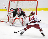 Leah Sulyma (NU - 1), Jillian Dempsey (Harvard - 14) - The Harvard University Crimson defeated the Northeastern University Huskies 1-0 to win the 2010 Beanpot on Tuesday, February 9, 2010, at the Bright Hockey Center in Cambridge, Massachusetts.