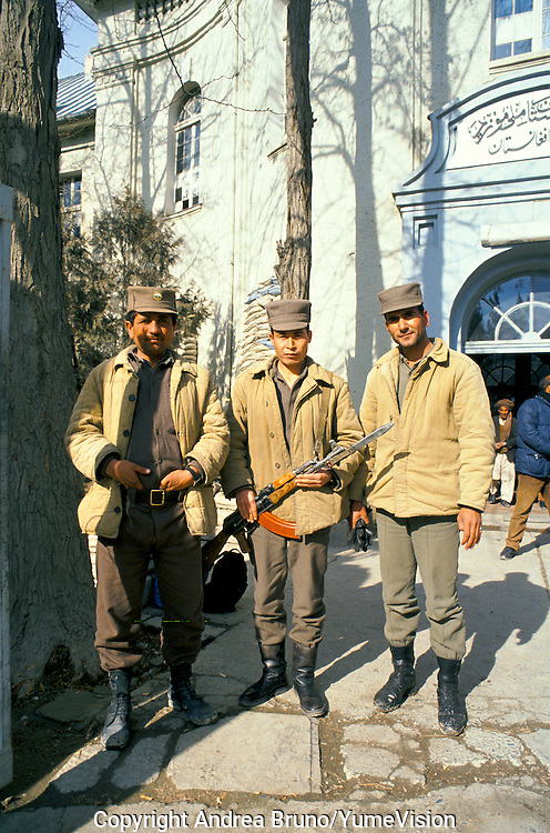 Afghan soldiers at the National Museum in 1990 protect by send bag's the museum was still intact. Kabul, Afghanistan