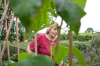 Mum and Alix in the vegetable garden. Summer in Somerset with the family, July, 2011