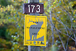 "Chequamegon National Forest sign ""Elk Management Area"".  Fall.  Wisconsin."