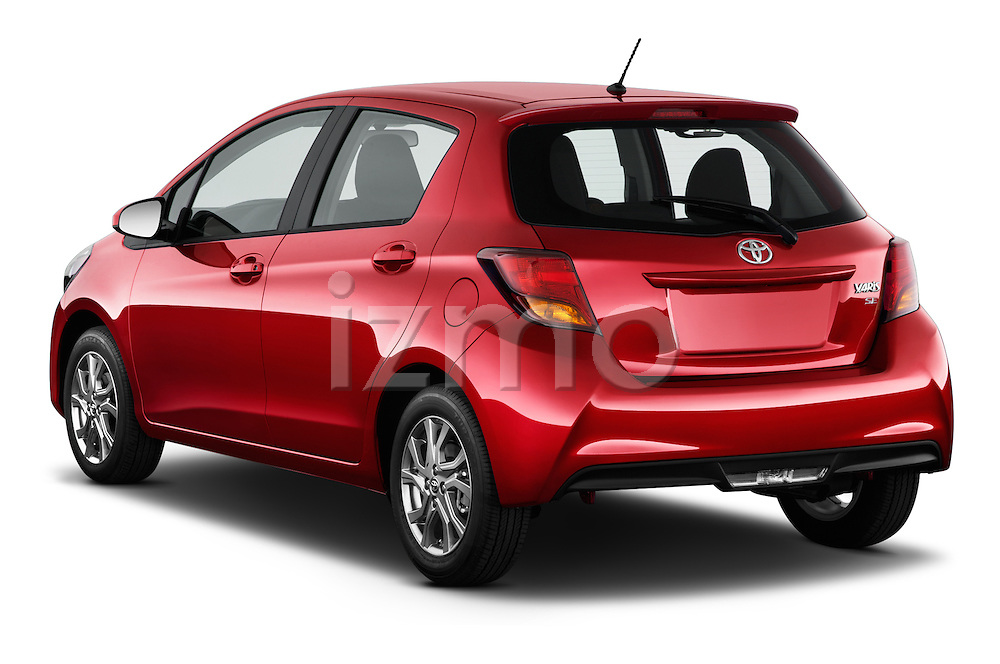 Car pictures of rear three quarter view of a 2015 Toyota Yaris SE 5-Door Liftback AT 5 Door Hatchback Angular Rear