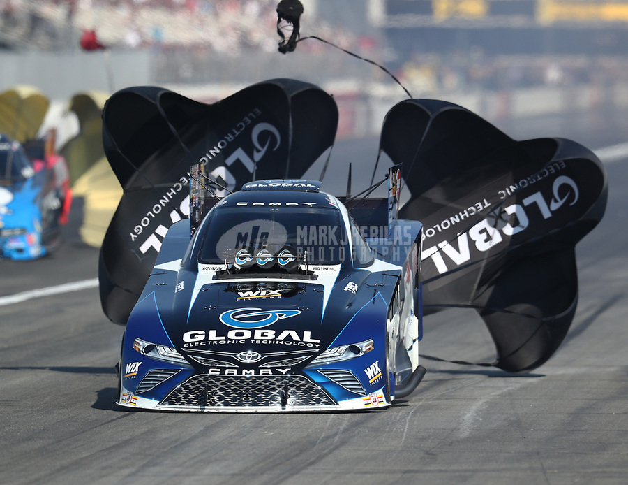 Nov 11, 2018; Pomona, CA, USA; NHRA funny car driver Shawn Langdon during the Auto Club Finals at Auto Club Raceway. Mandatory Credit: Mark J. Rebilas-USA TODAY Sports