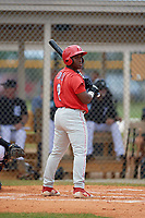 Philadelphia Phillies Wilfredo Flores (2) at bat during an Instructional League game against the Detroit Tigers on September 19, 2019 at Tigertown in Lakeland, Florida.  (Mike Janes/Four Seam Images)