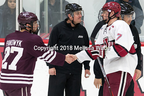 Mike Panowyk (Colgate - 27), Eddie Ellis (Harvard - 7) - The visiting Colgate University Raiders shut out the Harvard University Crimson for a 2-0 win on Saturday, January 27, 2018, at Bright-Landry Hockey Center in Boston, Massachusetts.