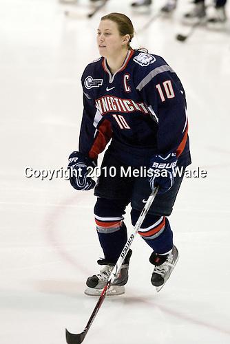 Amy Hollstein (UConn - 10) - The University of Connecticut Huskies defeated the Northeastern University Huskies 4-1 in Hockey East quarterfinal play on Saturday, February 27, 2010, at Matthews Arena in Boston, Massachusetts.