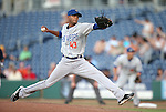 Las Vegas 51s' D.J. Mitchell pitches against the Reno Aces in a Triple-A baseball game in Reno, Nev., on Sunday, July 21, 2013. The 51s won 15-8.<br /> Photo by Cathleen Allison