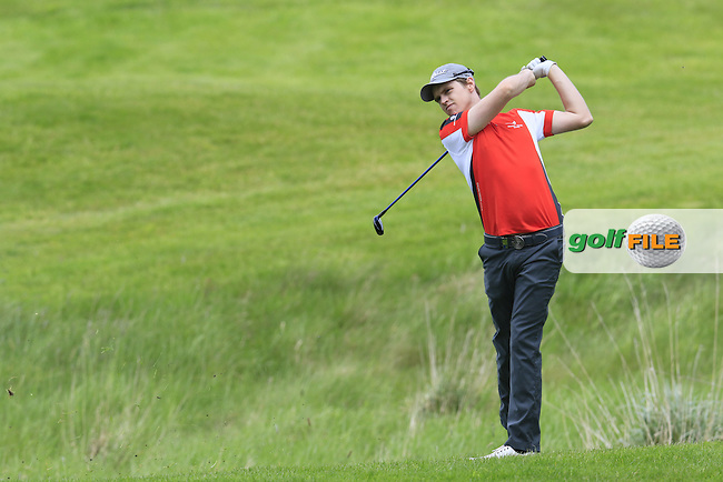 Kevin Phelan (IRL) plays his 2nd shot on the 16th hole during Thursday's Round 1 of the 2016 Dubai Duty Free Irish Open hosted by Rory Foundation held at the K Club, Straffan, Co.Kildare, Ireland. 19th May 2016.<br /> Picture: Eoin Clarke | Golffile<br /> <br /> <br /> All photos usage must carry mandatory copyright credit (&copy; Golffile | Eoin Clarke)