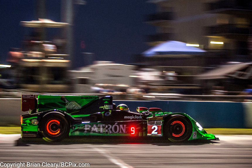 Night practice, #2 HPD ARX-04b 01/Honda ,  Johannes van Overbeek, Jon Fogarty, Ed Brown  12 Hours of Sebring, Sebring International Raceway, Sebring, FL, March 2015.  (Photo by Brian Cleary/ www.bcpix.com )