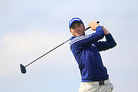 Daniel Young (SCO) on the 12th tee during the Home Internationals day 2 foursomes matches supported by Fairstone Financial Management Ltd. at Royal Portrush Golf Club, Portrush, Co.Antrim, Ireland.  13/08/2015.<br /> Picture: Golffile   Fran Caffrey<br /> <br /> <br /> All photo usage must carry mandatory copyright credit (© Golffile   Fran Caffrey)