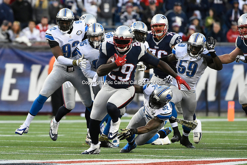 November 23, 2014 - Foxborough, Massachusetts, U.S.- New England Patriots running back LeGarrette Blount (29) is chased down during the NFL game between the Detroit Lions and the New England Patriots held at Gillette Stadium in Foxborough Massachusetts. The Patriots defeated the Lions 34-9. Eric Canha/CSM