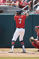 Ian Fair (7) of the Northeastern Huskies at bat against the North Carolina State Wolfpack at Doak Field at Dail Park on June 2, 2018 in Raleigh, North Carolina. The Wolfpack defeated the Huskies 9-2. (Brian Westerholt/Four Seam Images)