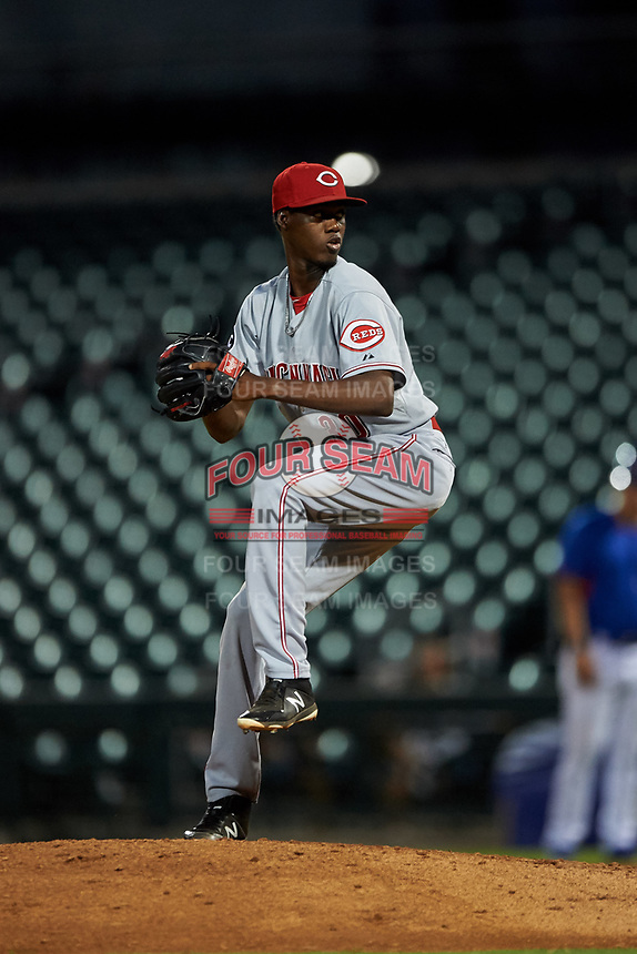 AZL Reds relief pitcher Andres Falcon (30) during an Arizona League game against the AZL Cubs 2 on July 23, 2019 at Sloan Park in Mesa, Arizona. AZL Cubs 2 defeated the AZL Reds 5-3. (Zachary Lucy/Four Seam Images)