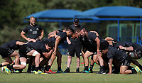 PRETORIA, SOUTH AFRICA - OCTOBER 05: A scrum sets during the Rugby Championship New Zealand All Blacks captain's run at St David's Marist Inanda in Sandown, South Africa on Friday, October 5, 2018. Photo: Steve Haag / stevehaagsports.com