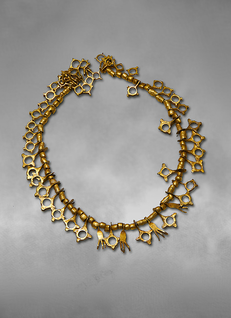 Bronze Age Hattian gold necklace from Grave TM, possibly a Bronze Age Royal grave (2500 BC to 2250 BC) - Alacahoyuk - Museum of Anatolian Civilisations, Ankara, Turkey
