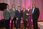 The Wales team Gethin Jones, Gareth Bale, Rob Brydon, Sir Gareth Edwards, Andrew Howard and Philip Glenister at the gala dinner.<br /> The Celebrity Cup 2015<br /> Celtic Manor Resort<br /> <br /> 04.07.15<br /> &copy;Steve Pope - SPORTINGWALES