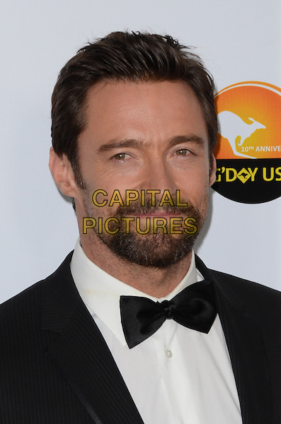 Hugh Jackman.at The G'Day USA Black Tie Gala held at The JW Marriot at LA Live in Los Angeles, California, January 12th 2013..portrait headshot black bow tie beard facial hair goatee .CAP/ADM/TW.©Tonya Wise/AdMedia/Capital Pictures.