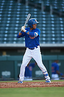 AZL Cubs 1 Pedro Martinez (11) at bat during an Arizona League game against the AZL Giants Orange on July 10, 2019 at Sloan Park in Mesa, Arizona. The AZL Giants Orange defeated the AZL Cubs 1 13-8. (Zachary Lucy/Four Seam Images)