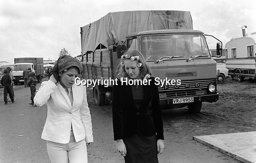 Appleby in Westmorland Horse fair Cumbria. 1981 Girls with hair in curlers getting ready for an evening out