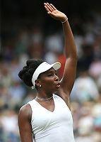 Venus Williams (USA) acknowledges the crowd after her match against Alexandra Dulgheru (ROU)<br /> <br /> Photographer Rob Newell/CameraSport<br /> <br /> Wimbledon Lawn Tennis Championships - Day 3 - Wednesday 4th July 2018 -  All England Lawn Tennis and Croquet Club - Wimbledon - London - England<br /> <br /> World Copyright &not;&copy; 2017 CameraSport. All rights reserved. 43 Linden Ave. Countesthorpe. Leicester. England. LE8 5PG - Tel: +44 (0) 116 277 4147 - admin@camerasport.com - www.camerasport.com