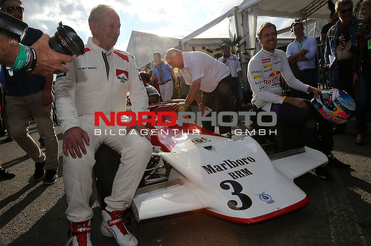 Dr Helmut Marko (AUT), 1972 BRM P160b - Sebastian Vettel (GER), Red Bull Racing<br /> for the complete Middle East, Austria &amp; Germany Media usage only!<br />  Foto &copy; nph / Mathis
