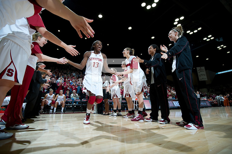 STANFORD CA-NOVEMBER 28, 2010: Chiney Ogwumike takes the court before the Stanford 93-78 win over Texas in Stanford, California.