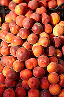 Fresh peaches outside a fruit shop, Corfu, Greek Ionian Islands