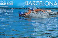 Brazil Luis Rogerio Arapiraca, Poliana Cintra Okimoto, Samuel De Bona Bronze Medal<br /> Open Water 5 Km Team Event Nuoto Acque Libere fondo Squadra <br /> Barcellona 25/7/2013 Moll de la Fusta<br /> Barcelona 2013 15 Fina World Championships Aquatics <br /> Foto Andrea Staccioli Insidefoto