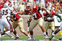 September 03, 2011:   Florida State Seminoles offensive tackle Andrew Datko (67) blocks during 1st half action between the Florida State Seminoles and the Louisiana Monroe Warhawks at Doak S. Campbell Stadium in Tallahassee, Florida.