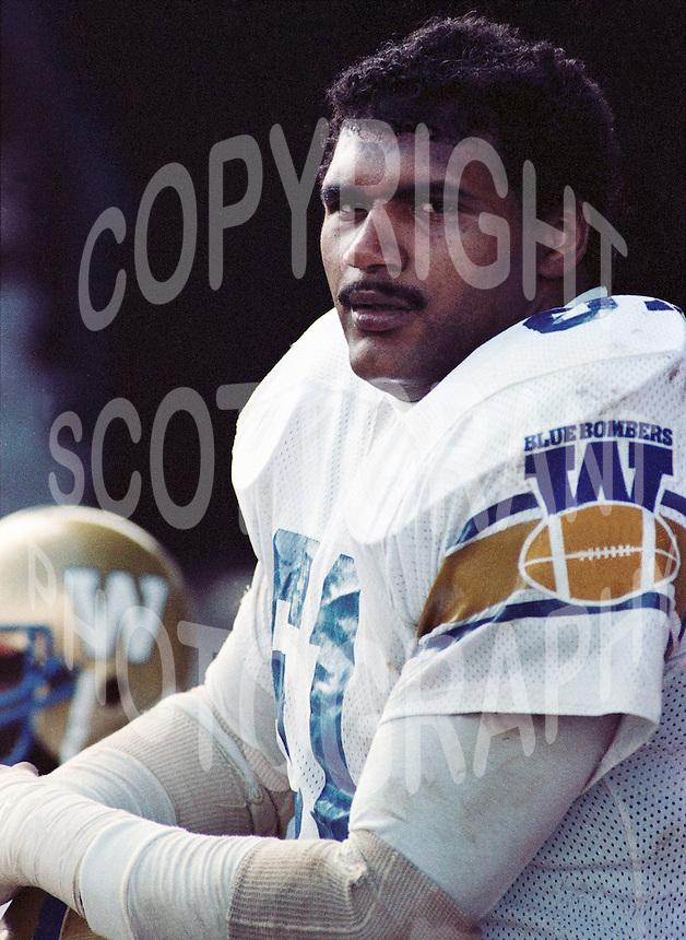 Bobby Thompson Winnipeg Blue Bombers lineman 1983. Copyright photograph Scott Grant/