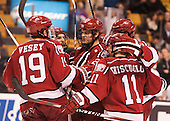 The Crimson celebrate Kyle Criscuolo's (Harvard - 11) goal which gave Harvard a 2-1 lead. The goal was originally announced as Adam Baughman's (Harvard - 20). - The Boston College Eagles defeated the Harvard University Crimson 3-2 in the opening round of the Beanpot on Monday, February 1, 2016, at TD Garden in Boston, Massachusetts.