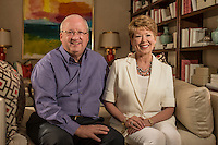 NWA Democrat-Gazette/ANTHONY REYES &bull; @NWATONYR<br /> Gary George and Robin George in their home Friday July 24, 2015 in Springdale. The George's are event chairpersons for the Color of Hope gala, benefitting the Arkansas Children&rsquo;s Hospital.