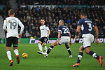 Chris Baird of Derby County passes to Andreas Weimann whilst being closed down by Millwall captain Steve Morrison during the championship league match between Derby and Millwall at Pride Park Stadium, Derby. Picture date 23rd December 2017. Picture credit should read: Joe Perch/Sportimage