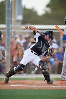 Joseph Salvo during the WWBA World Championship at the Roger Dean Complex on October 18, 2018 in Jupiter, Florida.  Joseph Salvo is a catcher from Seabrook Island, South Carolina who attends Buford High School.  (Mike Janes/Four Seam Images)