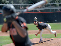 (Photo by John Valenzuela, Freelance)<br /> <br /> #5 Will Martel. The Occidental College baseball team defeats Caltech to claim the SCIAC Championships on Sunday, May 1, 2016 at Oxy's Anderson Field.<br /> <br /> (Photo by John Valenzuela, Freelance)