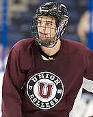 Tyson Fulton (Union - 25) - The Union College Dutchmen practiced on Wednesday, April 4, 2012, during the 2012 Frozen Four at the Tampa Bay Times Forum in Tampa, Florida.