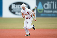 Will Albertson (17) of the Asheboro Copperheads takes off for third base during the game against the Gastonia Grizzlies at McCrary Park on June 1, 2015 in Asheboro, North Carolina.  The Copperheads defeated the Grizzlies 11-6. (Brian Westerholt/Four Seam Images)