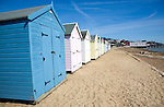 Seaside beach huts Felixstowe Suffolk