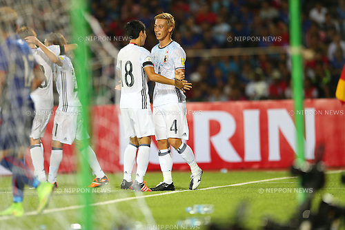 Keisuke Honda (JPN), NOVEMBER 17, 2015 - Football / Soccer : Keisuke Honda of Japan celebrates scoring their team second goal during the FIFA World Cup Russia 2018 Asian Qualifier Second Round Group E match between Cambodia 0-2 Japan at Phnom Penh the National stadium in Phnom Penh, Cambodia. (Photo by Kenzaburo Matsuoka/AFLO)