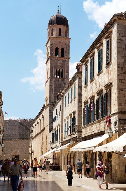 Stock photos of Placa (Stradum) - Main street in Dubrovnik looking towards Luza Square  - Croatia
