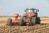 Cultivating stubble ready for drilling oilseed rape in the Lincolnshire fens<br /> ©Tim Scrivener Photographer 07850 303986<br />      ....Covering Agriculture In The UK....