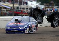 Aug 17, 2014; Brainerd, MN, USA; NHRA pro stock driver Jason Line during the Lucas Oil Nationals at Brainerd International Raceway. Mandatory Credit: Mark J. Rebilas-
