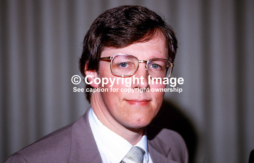 Peter Robinson, MP, Democratic Unionist Party, UK Parliament, Westminster, deputy leader, 19870712PR.<br /> <br /> Copyright Image from Victor Patterson,<br /> 54 Dorchester Park, <br /> Belfast, UK, BT9 <br /> <br /> t1: +44 28 9066 1296 (from Rep of Ireland 048 90661296)<br /> t2: +44 28 9002 2446 (from Rep of Ireland 048 9002 2446)<br /> <br /> m: +44 7802 353836<br /> <br /> e: victorpatterson@me.com<br /> www.victorpatterson.com<br /> <br /> Please see my Terms and Conditions of Use at www.victorpatterson.com. It is IMPORTANT that you familiarise yourself with them.<br /> <br /> Images used on the Internet must be visibly watermarked i.e. &copy; Victor Patterson<br /> within the body of the image and copyright metadata must not be deleted. Images <br /> used on the Internet have a size restriction of 4kbs and will be chargeable at current<br />  NUJ rates unless agreed otherwise.<br /> <br /> This image is only available for the use of the recipient i.e. television station, newspaper, magazine, book publisher, etc, and must not be passed on to any third party. It is also downloaded on condition that each and every usage is notified within 7 days to victorpatterson@me.com<br /> <br /> The right of Victor Patterson to be identified as the author is asserted in accordance with The Copyright Designs And Patents Act (1988). All moral rights are asserted.